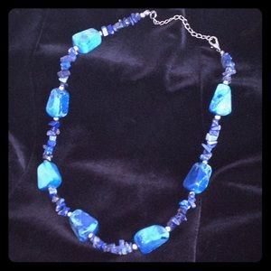 """Jewelry - Lapis lazuli and silver necklace 18"""""""
